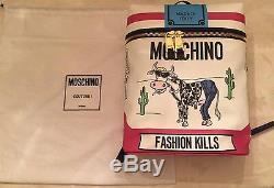 BUNDLE MOSCHINO Jeremy Scott Cigarette Box Fashion Kills Cow Dress & BACKPACK