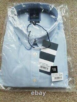 Crew Clothing Classic Striped Shirt Blue Ladies, UK 18 bundle X10 RRP £490 Bnwt