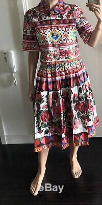 Dolce & Gabbana Cotton-poplin Floral Midi Skirt And Cropped Top IT 42/ UK10
