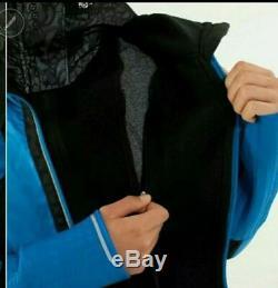 Euc Lululemon Sz 6 Down & Fleece Run Bundle Up Hooded Jacket Coat Black & Blue