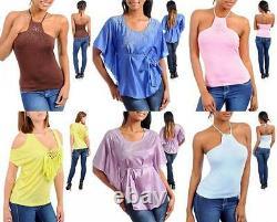 Lot 150 Pcs Wholesale Clothing Womens Tops Jeans Dresses Bottoms S M L XL