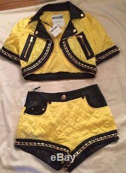 OUTFIT BUNDLE Moschino Couture Jeremy Scott BARBIE YELLOW QUILTED JACKET& SHORTS