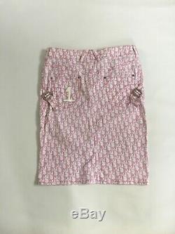 Pink Christian Dior Monogram 4 Piece Set Jacket Skirt Jeans Bag