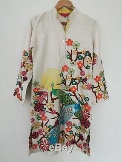 Rare Manish Arora Silk Applique Sequin Peacocks Indian Kurta Dress Size Medium