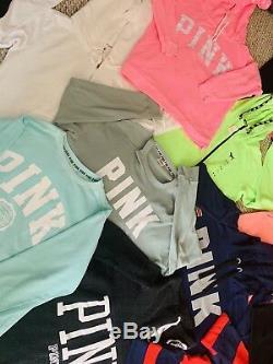 Victorias Secret PINK Huge Bundle Lot Of 13 Hoodies Sweatshirts Sweats Tops
