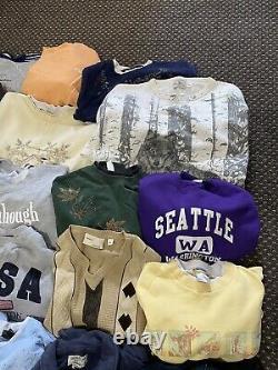 Vintage Sweatshirt Jumper Bundle Wholesale Joblot x34 Pieces Mens and Womens